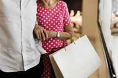 Senior Adult Couple Shopping Lifestyle Royalty Free Stock Photo