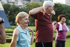 Senior Adult Exercise Fitness Strength Royalty Free Stock Photography