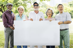 Senior Adult Friendship Togetherness Banner Placard Copy Space C. Diverse Senior Adults Friendship Togetherness Banner Placard Copy Space Stock Photo