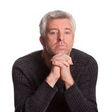 Senior adult man lost  thought Stock Photography