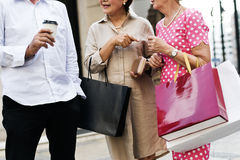 Senior Adult Shopping Friendship Lifestyle Stock Photo
