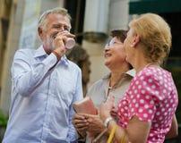 Senior Adult Shopping Friendship Lifestyle Stock Images