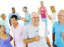 Senior Adult staying fit with Friends.  Stock Photography