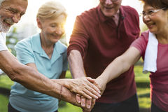 Senior Adult Teamwork Hands Together royalty free stock photos
