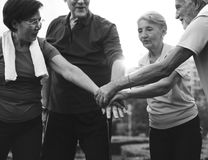 Senior Adult Teamwork Hands Together Royalty Free Stock Image