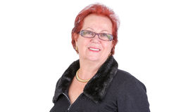 Senior Adult Woman With Red Hair Smiling at You Stock Images