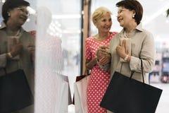 Senior Adult Women Shopping Bags Lifestyle Royalty Free Stock Photos
