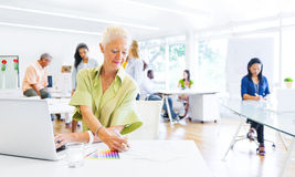 Senior Adult Working on her Project Royalty Free Stock Photo