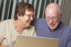 Senior Adults on Laptop Computer Stock Photos