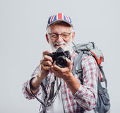 Senior adventurer and photographer stock photos