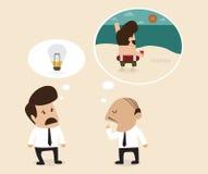 Senior advisor suggest employee to take a rest stock illustration