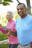 Senior African American Couple Jogging In Park Royalty Free Stock Photos