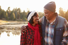 Senior African American Couple Walking By Lake Royalty Free Stock Photography