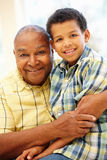 Senior African American man and grandson. Senior African American men and grandson Stock Photo