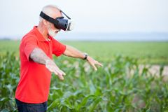 Senior agronomist or farmer standing in corn field and using VR goggles stock photos