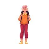 Senior, alte grau-haarige Frau, die mit einem Rucksack reist lizenzfreie abbildung