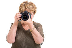 Senior amateur photographer Stock Photo