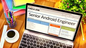 Now Hiring Senior Android Engineer. 3D. Senior Android Engineer - Opportunity for Advancement. Find a Job. 3D Rendering Stock Images