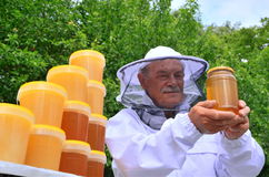 Senior apiarist presenting jar of fresh honey in apiary. In the springtime Royalty Free Stock Images