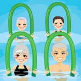 Senior Aqua Gym Foam Rollers Stock Photo