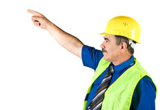 Senior Architect Man Pointing To Upwards Royalty Free Stock Photos