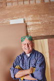 Senior as carpentry workshop`s boss Royalty Free Stock Image