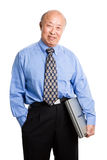 Senior asian businessman and laptop Royalty Free Stock Photos