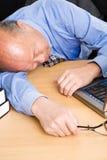 Senior asian businessman sleeping Stock Photos