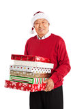 Senior Asian celebrating Christmas stock photos