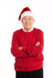Senior Asian celebrating Christmas royalty free stock image