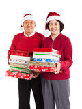 Senior Asian couple celebrating Christmas royalty free stock photos