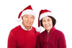 Senior Asian couple celebrating Christmas stock photography