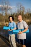 Senior asian couple exercise Stock Images