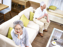 Senior asian couple having relationship problem Stock Image