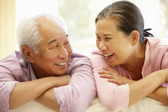 Senior Asian couple at home Stock Photo