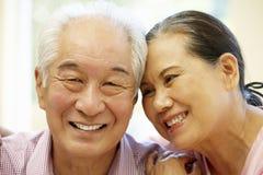 Senior Asian couple at home Stock Photos