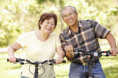 Senior Asian couple riding bikes in park Stock Photos