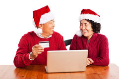 Senior Asian couple shopping online stock photo