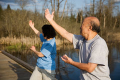 Senior asian exercise Stock Photo