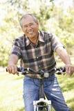 Senior Asian man riding bike in park Stock Images