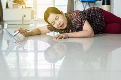 Free Senior Asian Woman Suffering With Faint Lying On Floor After Falling Down Stair At Home Royalty Free Stock Photography - 159568417