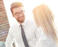 Senior assistant looks at the handshake business partners. The concept of partnership Stock Images