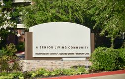 Senior, Assisted and Independent Living Community. Senior living community, independent living, assisted living, memory care center and retirement home for royalty free stock photography