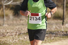 Senior athletic runner on a cross country race. Outdoor circuit Stock Image