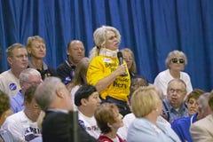 Senior attendee asks question of Senator John Kerr Royalty Free Stock Photo