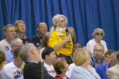 Senior attendee asks question of Senator John Kerry at the Valley View Rec Center, Henderson, NV Royalty Free Stock Image