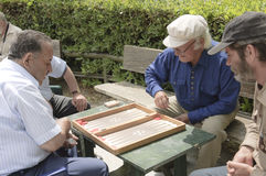 Senior backgammon players Stock Photo