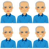 Senior Bald Man Face Expressions stock illustration
