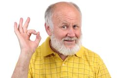 Senior bald man's gestures royalty free stock image