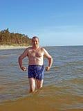 Senior bathing Stock Images